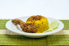 Asian's favourite dish : Chicken biryani with yellow rice. Stock Photos