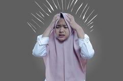 Asian`s woman sick stressed dizzy woman suffering, dizziness, headache, ill woman royalty free stock image