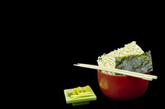 Asian Saimin Noodles with Japanese Nori Seaweed and Fresh Ginger Stock Photo