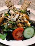 Asian salad. Fresh made asian salad with chicken on plate with bread sticks Stock Photos