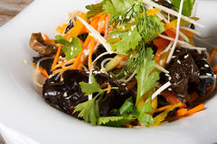 Asian salad with black shiitake mushroom Stock Photography