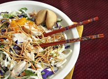 Asian Salad with Chopsticks Royalty Free Stock Photos