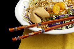Asian Salad with Chopsticks Stock Photography