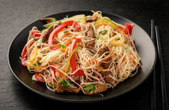 Asian salad with rice noodles, beef and vegetables. Stock Image