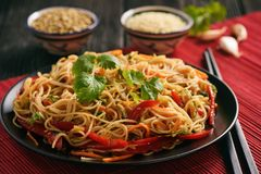 Asian salad with rice noodles and vegetables, korean style cuisine. Royalty Free Stock Image