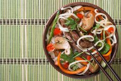 Asian salad vegetables, meat, mushrooms and rice noodle Stock Photo