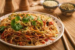Free Asian Salad With Rice Noodles And Vegetables, Korean Style Cuisine. Stock Images - 99429424