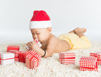 Asian Santa baby Stock Photo