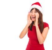 Asian Santa woman shouting. Happy Asian Santa woman shouting over white background Stock Photos