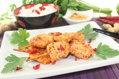 Asian satay skewers with chilli and peanut sauce Royalty Free Stock Photos
