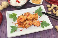 Asian satay skewers with chilli and rice Stock Images