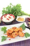 Asian satay skewers with rice and parsley Stock Photography
