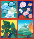 4 asian scene on the theme of nature: clouds, flowers, trees, mo Royalty Free Stock Image