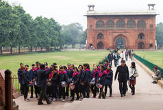 Asian School Children in The Red Fort in Delhi India Royalty Free Stock Images