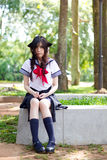 Asian school girl with charming eyes Stock Photos