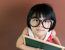 Asian school kid with chalk and chalkboard Stock Photos
