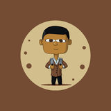 Asian schoolboy with briefcase. Asian schoolboy in a brown jacket and carrying a briefcase. The first time in first class. Illustration Vector Stock Photo