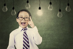 Asian schoolboy convey his idea Royalty Free Stock Photo