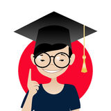Asian schoolboy. Smiling Asian schoolboy with glasses and graduation cap. Vector illustration Royalty Free Stock Photo
