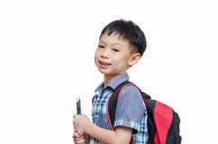 Asian schoolboy smiling Stock Photos