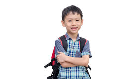 Asian schoolboy smiling isolated on white background Stock Images