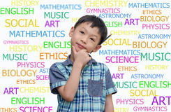 Asian schoolboy Thinking Royalty Free Stock Photo