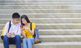 Asian schoolchildren, male and female stock photos