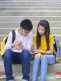 Asian schoolchildren, male and female royalty free stock photos