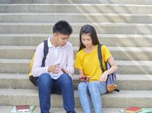 Asian schoolchildren, male and female stock photography