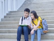 Asian schoolchildren, male and female royalty free stock photography
