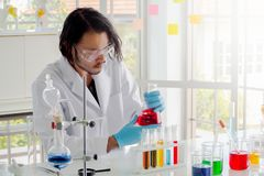 Scientist checking liquid substance in erlenmeyer flask royalty free stock photo