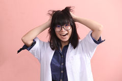Asian scientist gets mad Royalty Free Stock Photos