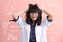 Asian scientist gets mad Royalty Free Stock Image
