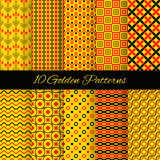 10 Asian seamless patterns. Vector Illustration. For your fashion design. Stylish elements for web background. Eastern red, black and golden ornamental. Book Vector Illustration