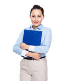 Asian secretary with file pad Royalty Free Stock Photography