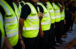 Free Asian Securities And Guards Are Stadning In The Row Meeting And Waiting For Order From Commander In Thailand Concert Event Royalty Free Stock Photos - 157728578