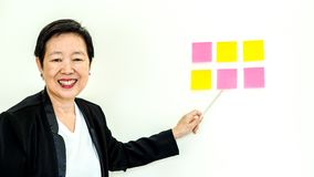 Asian senior business woman happy smiling expression face Royalty Free Stock Photos