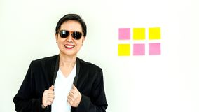 Asian senior business woman happy smiling expression face Royalty Free Stock Images