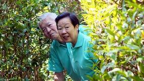 Asian senior couple behind the tree bush, nature concept. Showin Stock Image