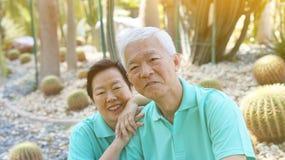 Asian senior couple in Cactus garden Royalty Free Stock Images