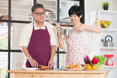 Asian senior couple cooking Royalty Free Stock Photography