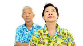 Asian senior couple fighting get upset to each other Royalty Free Stock Photography