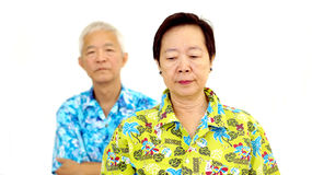 Asian senior couple fighting get upset to each other Stock Images