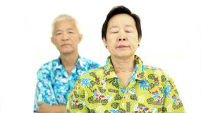 Asian senior couple fighting get upset to each other Royalty Free Stock Photo