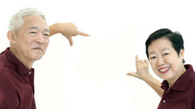 Asian senior couple frame up copy space white background Stock Images