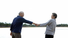 Asian senior couple holding hand Royalty Free Stock Image