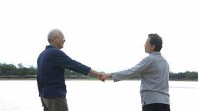 Asian senior couple holding hand Royalty Free Stock Photos