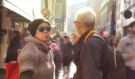 Asian senior couple lost in Europe. Travel after retirement and Royalty Free Stock Photo