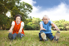 Asian Senior couple in the park Stock Photos