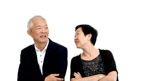 Asian senior couple partner dress in formal attire. Beautiful an Stock Images